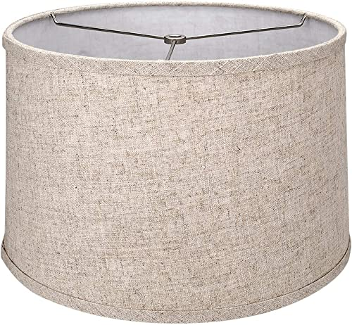 Tootoo Star Brown Lamp Shade Large Drum Lampshade for Chandeliers Floor Light and Table Lamp 13x14x9 ,Fabric Natural Linen Hand Crafted,Spider