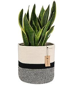"Leepes Jute Rope Plant Basket Modern Woven Basket for 10"" Flower Pot Floor Indoor Planters,Storage Organizer Basket Rustic Home Decor,Beige Stripes 11""x 11"""