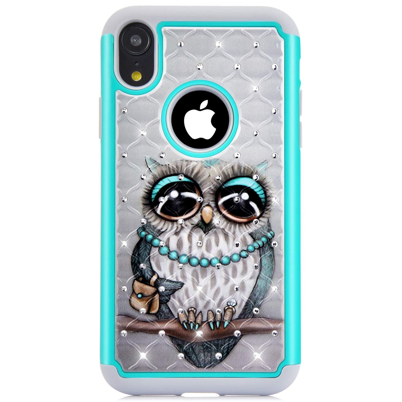 JAWSEU Funda Compatible con iPhone XR Brillante Brillo Diamantes 2 en 1 Duro Híbrida PC y Suave Silicona Gel Funda con Diseño Ultra-Delgada ...
