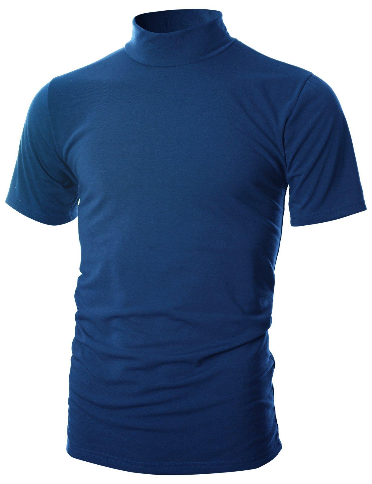 Ohoo Mens Slim Fit Soft Cotton Short Sleeve Pullover Lightweight Turtleneck Warm Inside /DCT101-BLUE-S