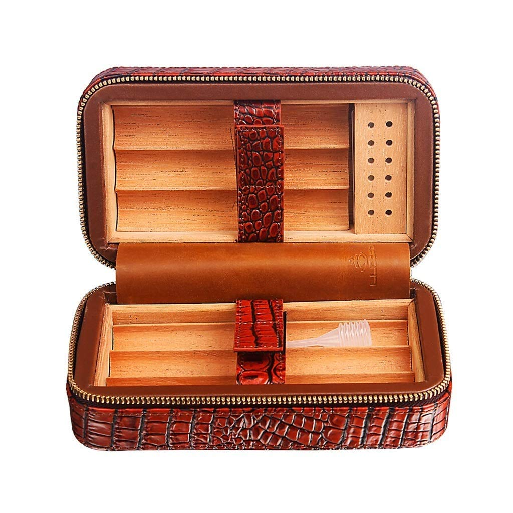 HYZXJHE Cigar Box, Cedar Wood Lining Humidifier Easy to Carry and Can Accommodate 6 Leather Cigar Box by HYZXJHE (Image #1)
