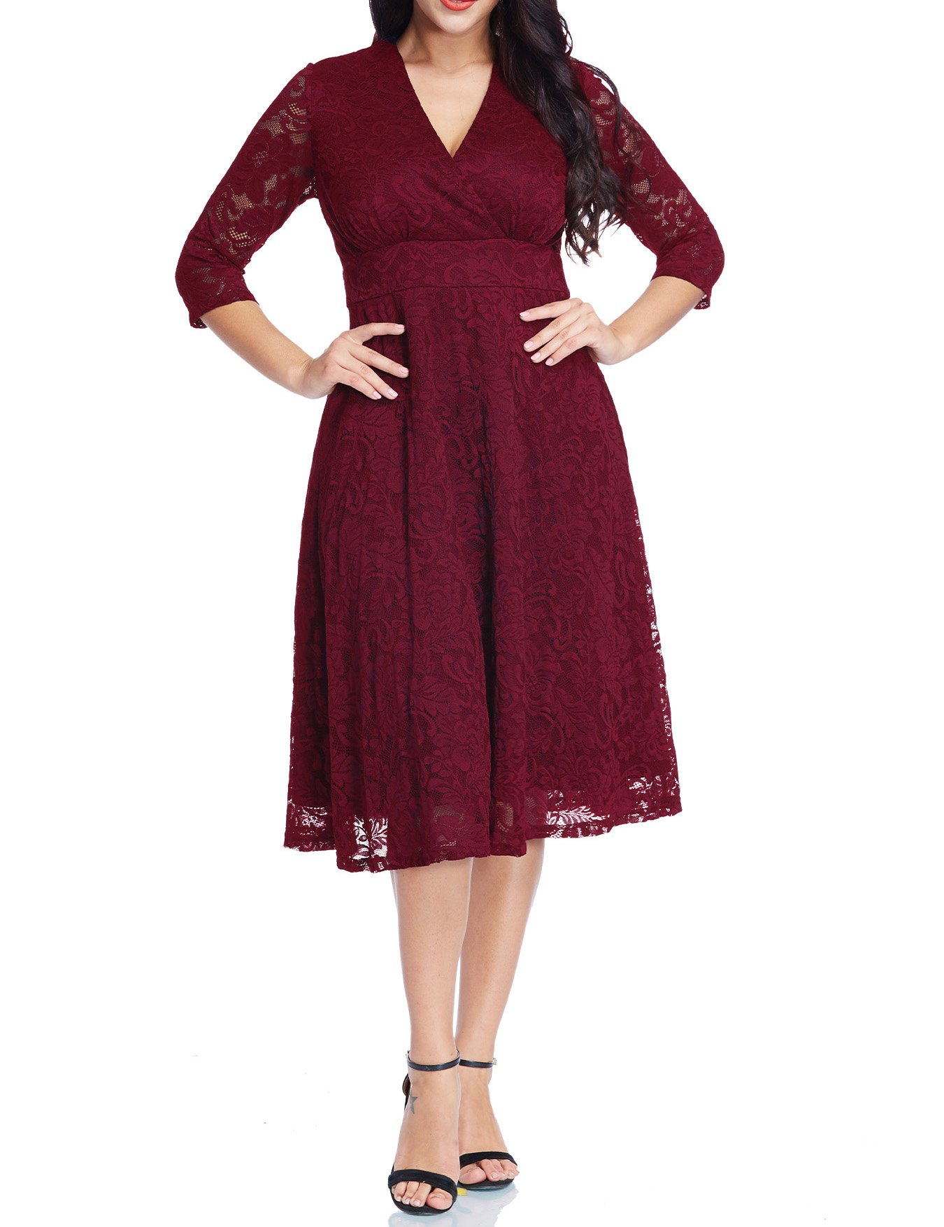GRAPENT Women's Lace Plus Size Mother Of The Bride Skater Dress Bridal Wedding Party Maroon 16W by GRAPENT (Image #5)