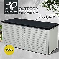 Gardeon 490L Outdoor Storage Box Bench Seat-Black and White