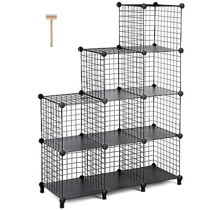 TomCare Cube Storage 9 Metal Wire Cubes Shelves Closet Organizer