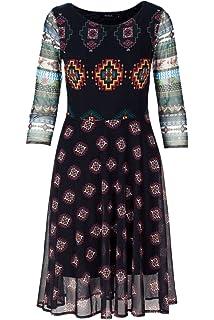 bf9994ccb858fa Desigual Kurzes Kleid Damen 42 Schwarz: Amazon.de: Bekleidung