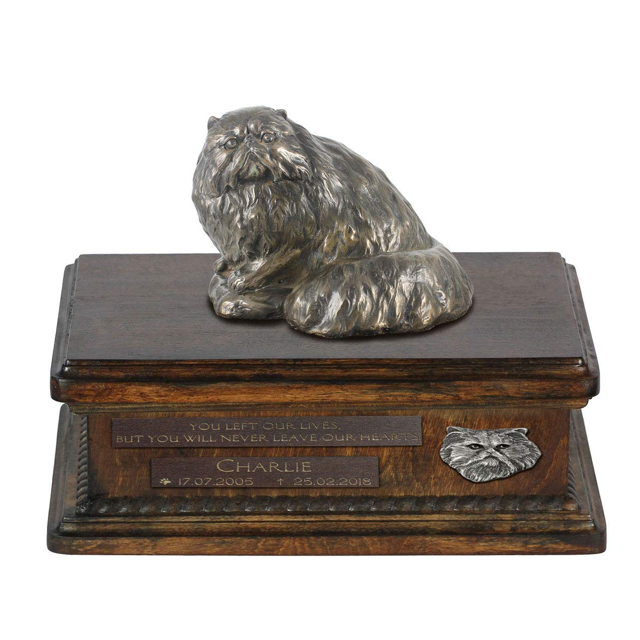 Persian Cat, Urn for Dog Ashes Memorial with Statue, Pet's Name and Quote ArtDog Personalized