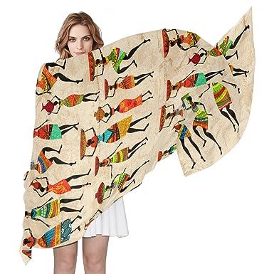 f0c7df7a9f4c COOSUN rétro Superbe africain Écharpe en soie Femme léger longue Écharpe  Châle Wrap pour femme