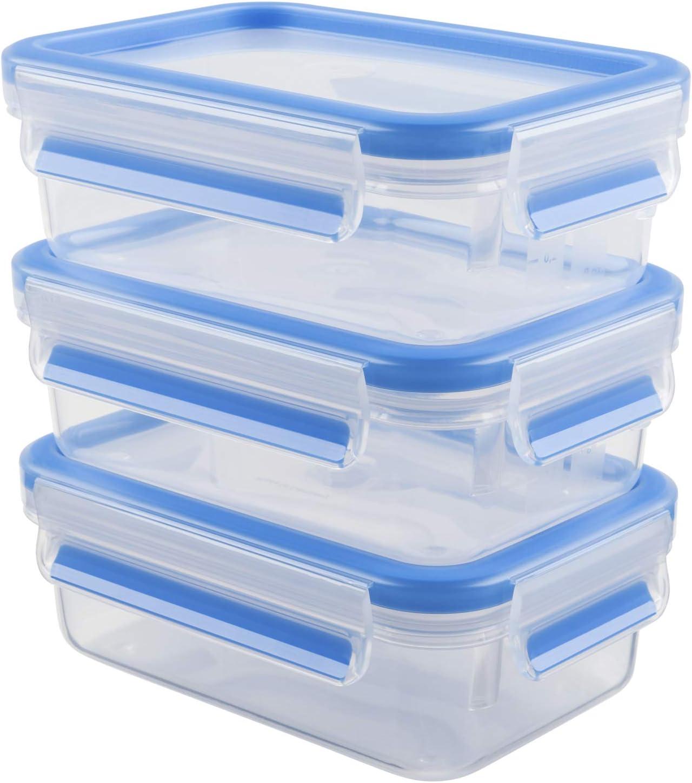 Emsa Clip&Close - Set de 3 Conservadores Herméticos de Plástico Rectangular de 0.55L, higiénico, no retiene olores ni sabores 100% libre de BPA, juego recipientes