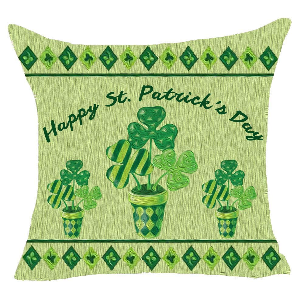 onech Happy St Patricks Day Irish National Day Clover Wood Grain Lucky Best Gift Square Pillowcase Cushion Cover Pillow Cover Cotton Linen Pillow Case 18X 18 for Family