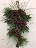 Country Winter Greens Swag Tear Drop With Large Pine Cones and Red Berries Decorative Front Door Winter Wreath Teardrop Indoor Holiday Christmas Home Decor
