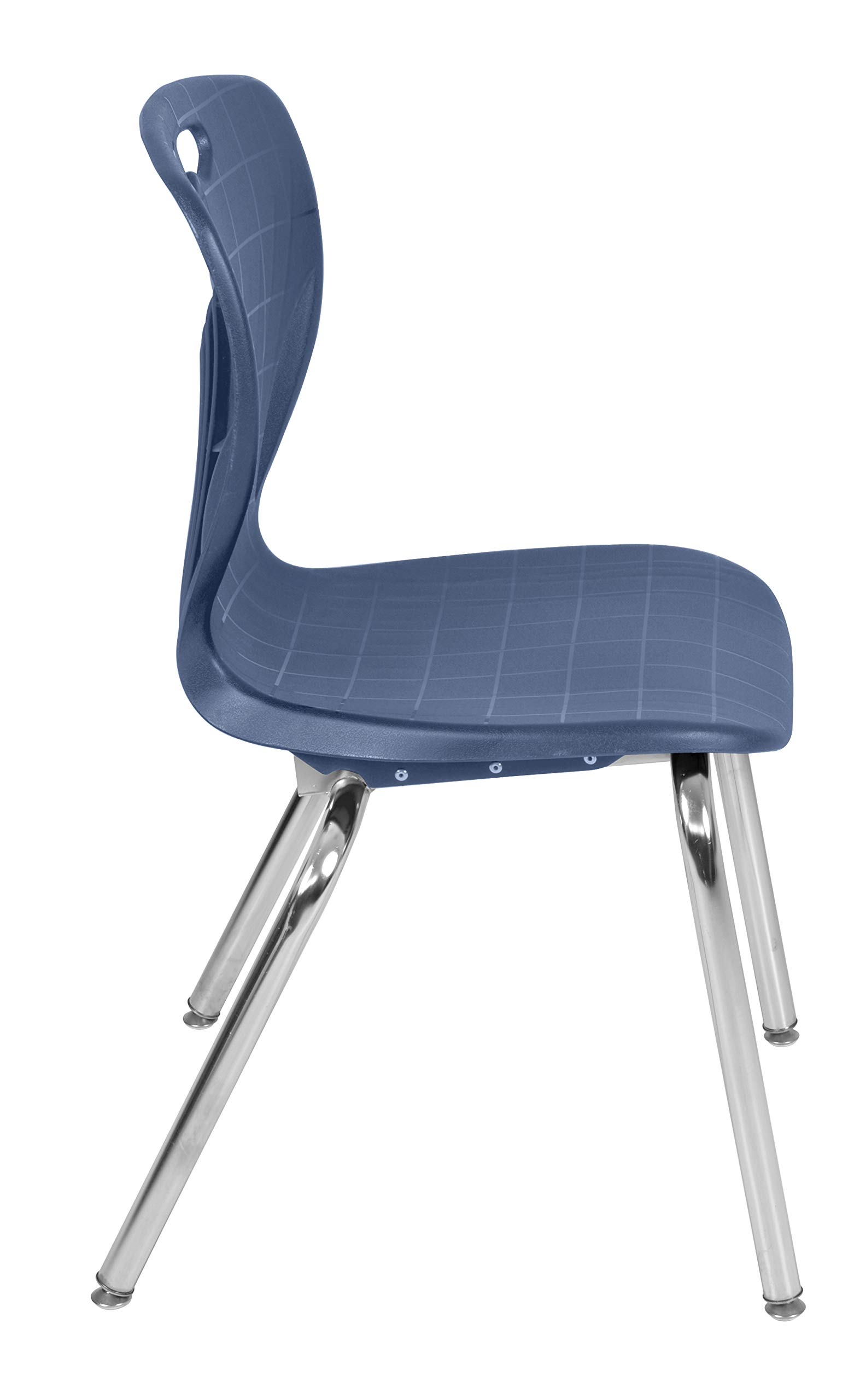 Regency MT4830MWAPCBK40NV Kee Height Adjustable Mobile Classroom Table Set with Two 18'' Andy Chairs 48'' x 30'' Mocha Walnut/Navy Blue by Regency (Image #6)
