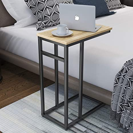 low price 31bfb 912c7 Homemaxs C Table Sofa Side Table for Small Space, Snack Table with Wood  Finish and Steel Construction for Couch and Bedside