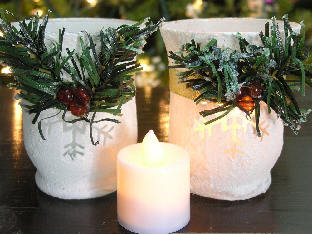 Christmas Candle Holders - Set of 2 White Glitter Votive Holders with Greenery and Berries - LED Flameless Candles Included - Christmas Centerpiece Candles