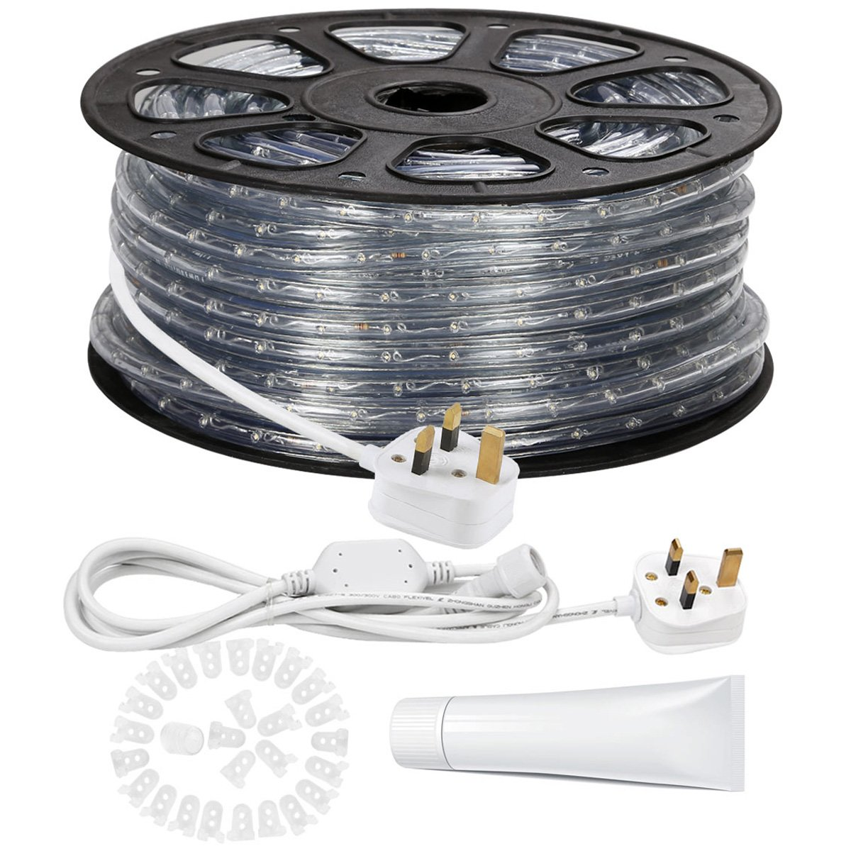 Le 46m 220 240v ac led rope lights kit 3000k warm white waterproof le 46m 220 240v ac led rope lights kit 3000k warm white waterproof ip65 accessories included led crystal clear pvc tubing rope customizable length mozeypictures Gallery