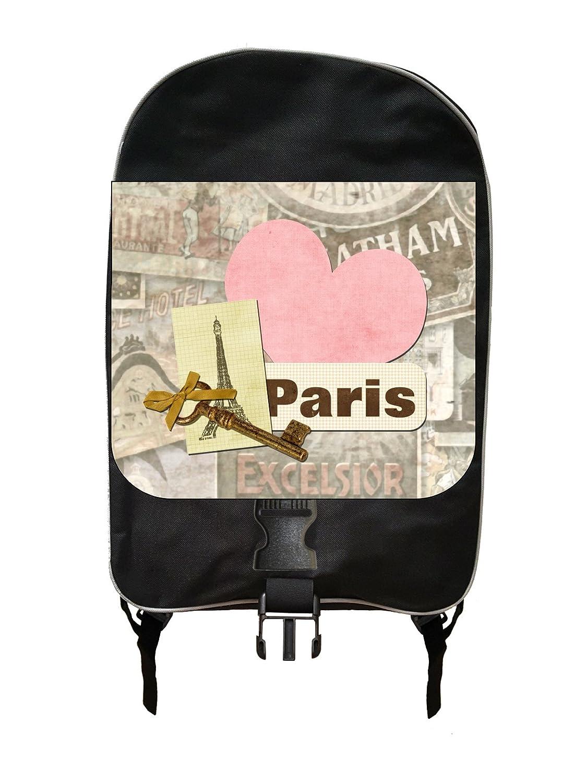 310813cb99 Amazon.com  Parisian Eiffel Tower Paris Themed Key Heart and Lock Print  Design - Girls Large Black Multi-Purpose School Backpack and Pencil Case  Set ...