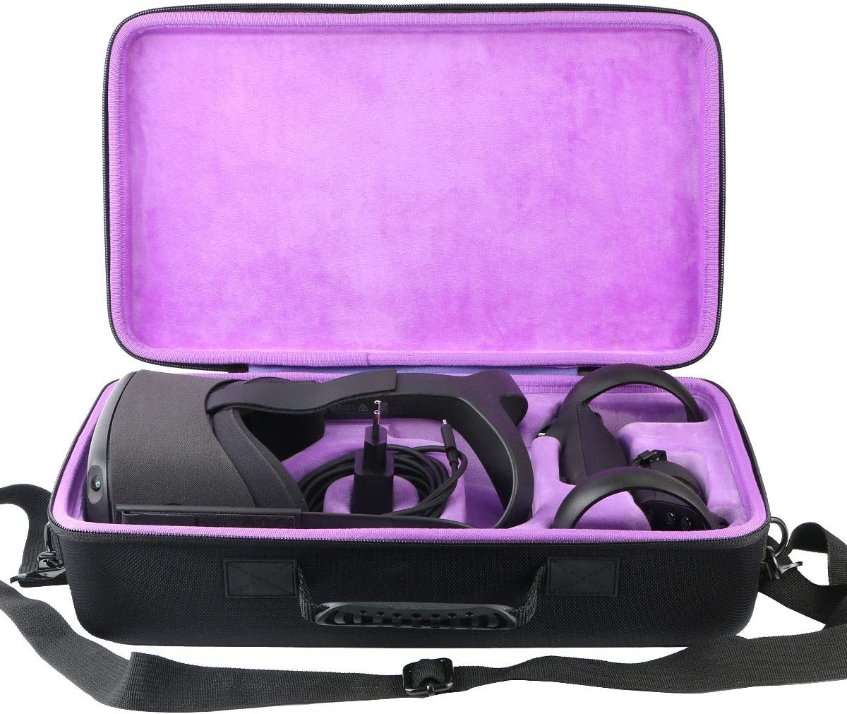 Purple Lining Khanka hard case carrying bag for Oculus Quest All-in-one VR Gaming Headset 128GB 64GB.