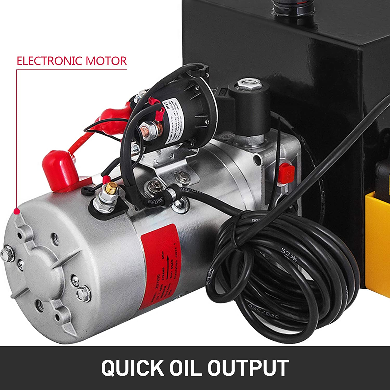 Steel,Single Acting Mophorn 12V Hydraulic Pump Unit 4 Quart