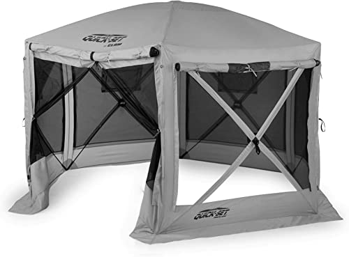 Quick Set 15221 Pavilion 12.5 Foot Portable Outdoor Gazebo Canopy Shelter Screen Tent for Picnics Tailgating, Gray