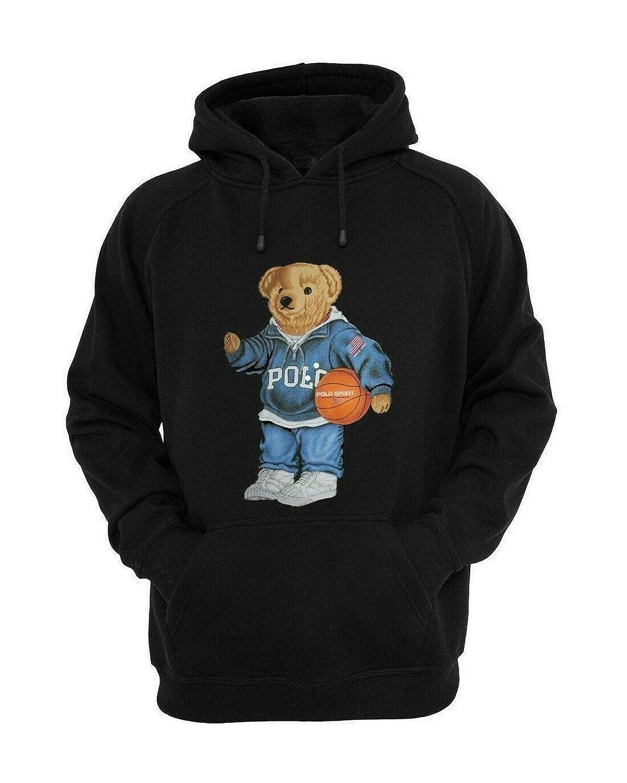 Vintage Hoodie 90/'s POLO Bear Basketball Sport Polo Bear White Hoodie
