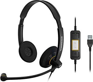 Sennheiser Consumer Audio SC 60 USB ML (504547) - Double-Sided Business Headset | For Skype for Business | with HD Sound, Noise-Cancelling Microphone, & USB Connector (Black)