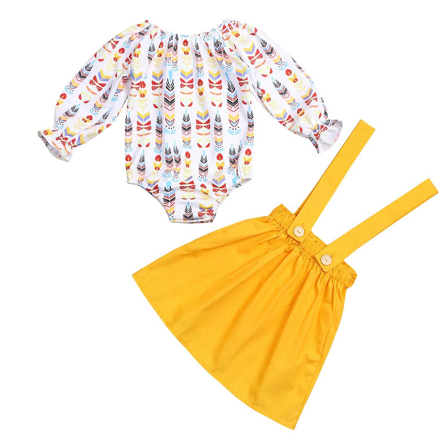 670da7435 3 Styles:floral yellow romper with sunflower headband / long sleeve romper  + yellow button suspender skirt. Occasion:Daily;photo outfit;party;birthday  party ...