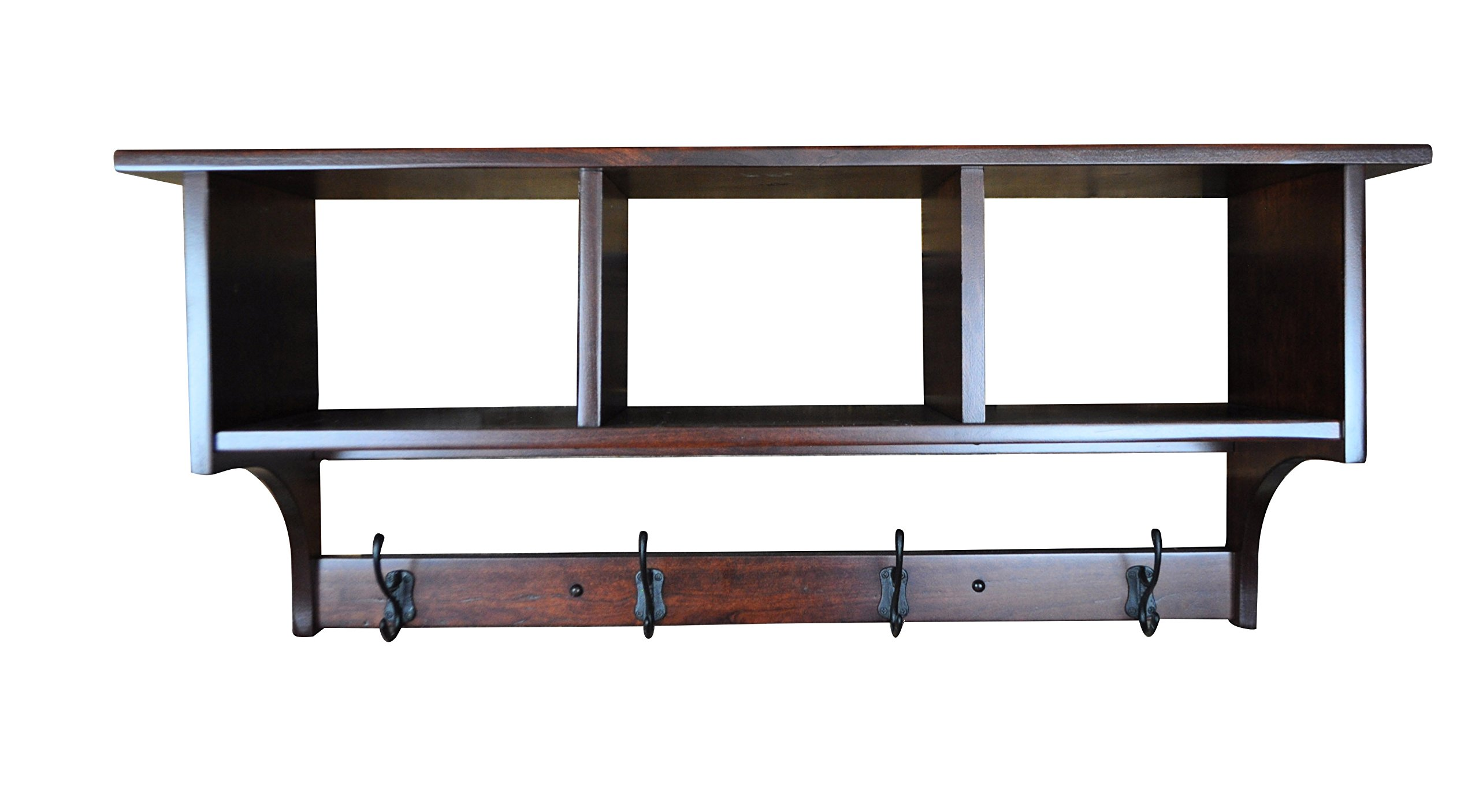 Shaker Cubby Coat Rack Shelf Wall Mounted – Custom Available - 4 Hook, Rustic Cherry Wood, Rich Cherry Stain by Hope Woodworking