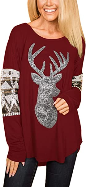 KUDICO Christmas Womens T-Shirt Tops Sweatshirt Xmas Elk Sequins Stripe Patchwork Long Sleeve Pullover Tunic