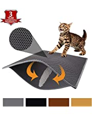 Pieviev Double Layer Cat Litter Mat - 76 x 61 cm Tapis Litiere Chat Trapper Messes, Easy Clean, Durable, Non Toxic Trapper Rug - Litter Box Mat, Cat Mat, Kitty Litter Mat (Grey)