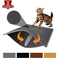 Pieviev Double Layer Cat Litter Mat - 76 x 61 cm Cat Litter Mat Trapper Messes, Easy Clean, Durable, Non Toxic Trapper Rug - Litter Box Mat, Cat Mat, Kitty Litter Mat (Grey)