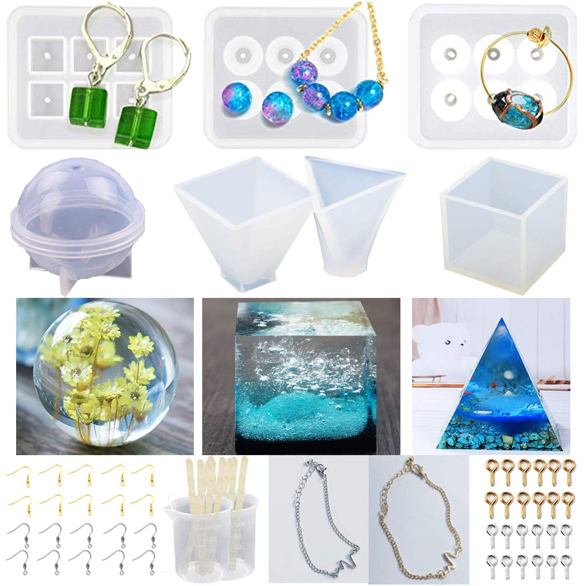 INSANY 7 Pack Silicone Mold Resin DIY Resin Casting Molds