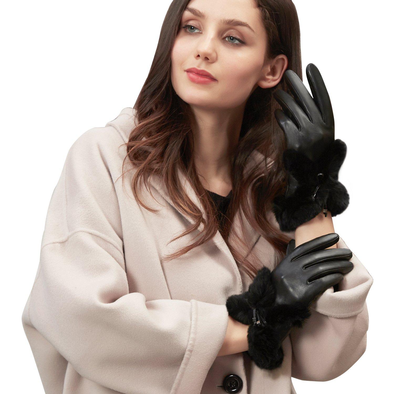 GSG Womens Italian Genuine Leather Winter Warm Gloves 100% Rex Rabbit Fur Ladies Touchscreen Gloves Exquisite DIY Bow Nice Gifts Black 8.5