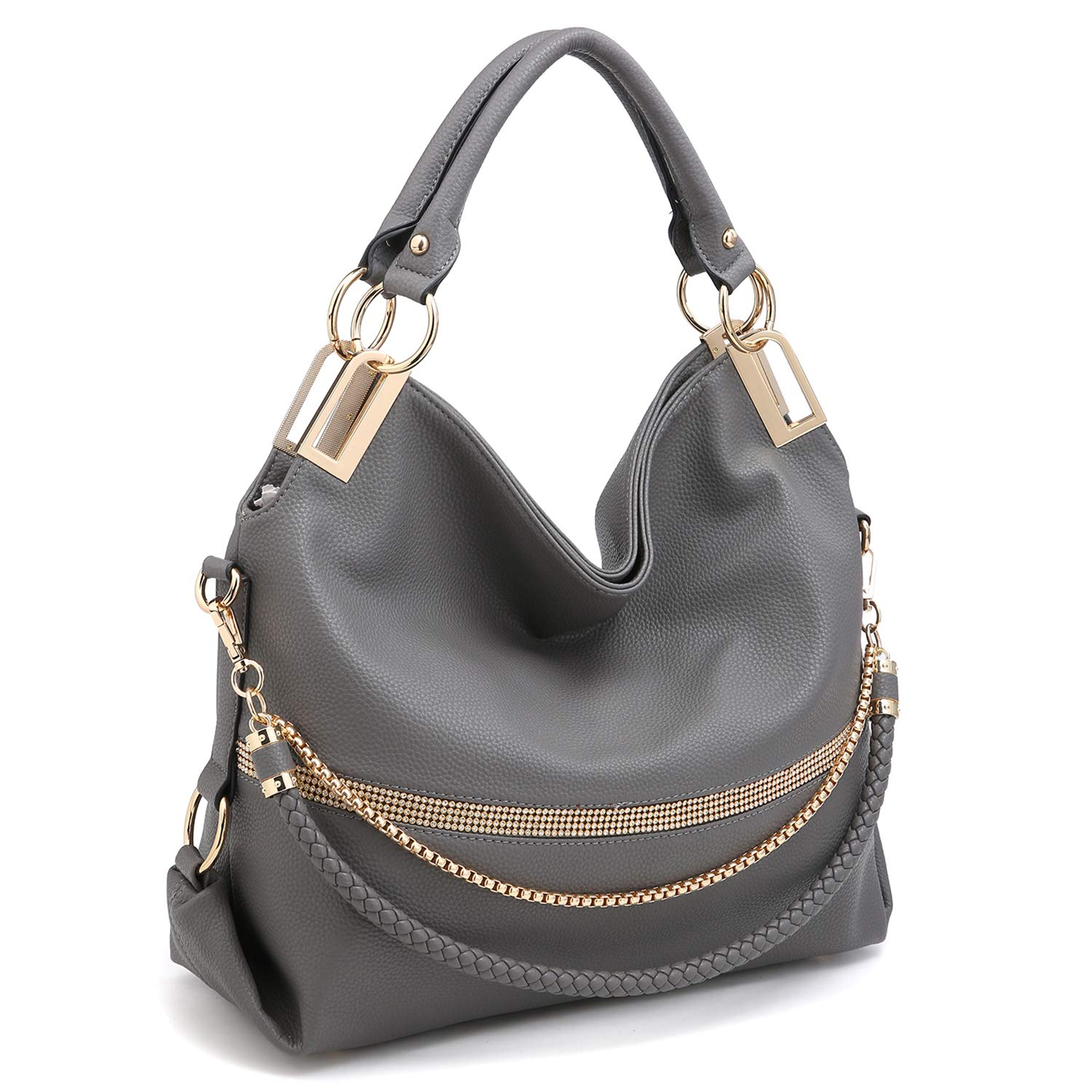 Dasein Women's Classic Large Hobo Bag Rhinestone Chain Shoulder Bag Top Handle Purse w/Shoulder Strap (Grey)