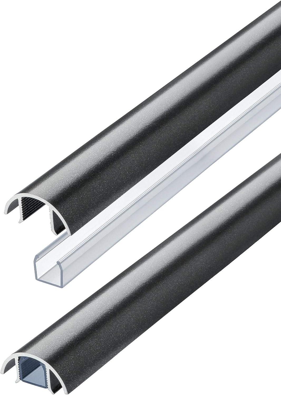 L/änge: 20cm MINI Aluminium Design Kabelkanal in Titanium Anthrazit seidenmatt metallic ALUNOVO Kabelschacht Lautsprecher Kabelleiste Kabelabdeckung Kabelmanagement