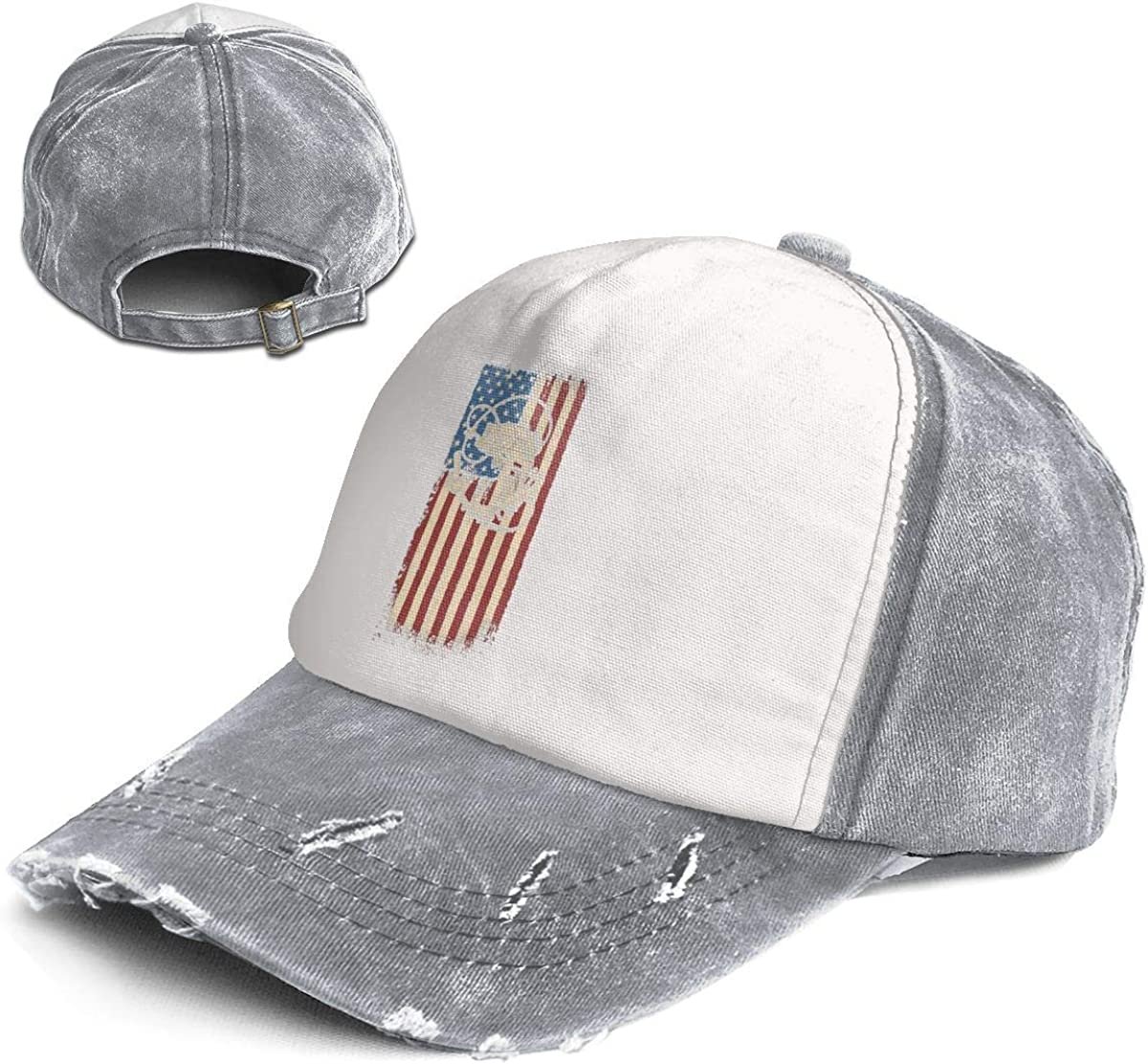 Fashion Vintage Hat Fishing Flag Adjustable Dad Hat Baseball Cowboy Cap