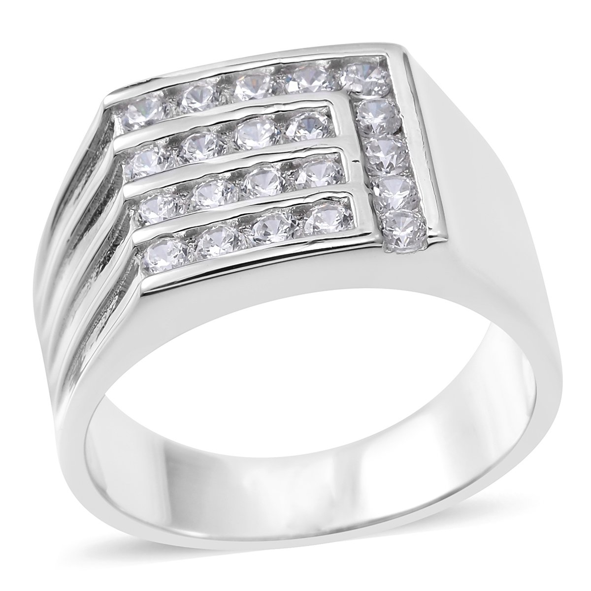 925 Sterling Silver 0.7 Cttw Round Cubic Zirconia Men's Fathers Day Gift Ring Size 10