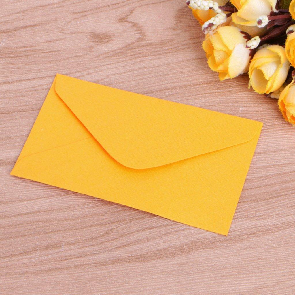 Lotto di 50 mini buste di carta stile r/étro colorate inviti auguri e regali 10x6cm//3.94x2.36 giallo Manyo perfette per partecipazioni di nozze