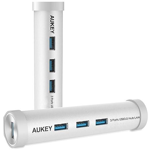 26 opinioni per AUKEY Hub USB C a 3 porte di USB 3.0 + 1 porta di Ethernet d'alluminio Type C