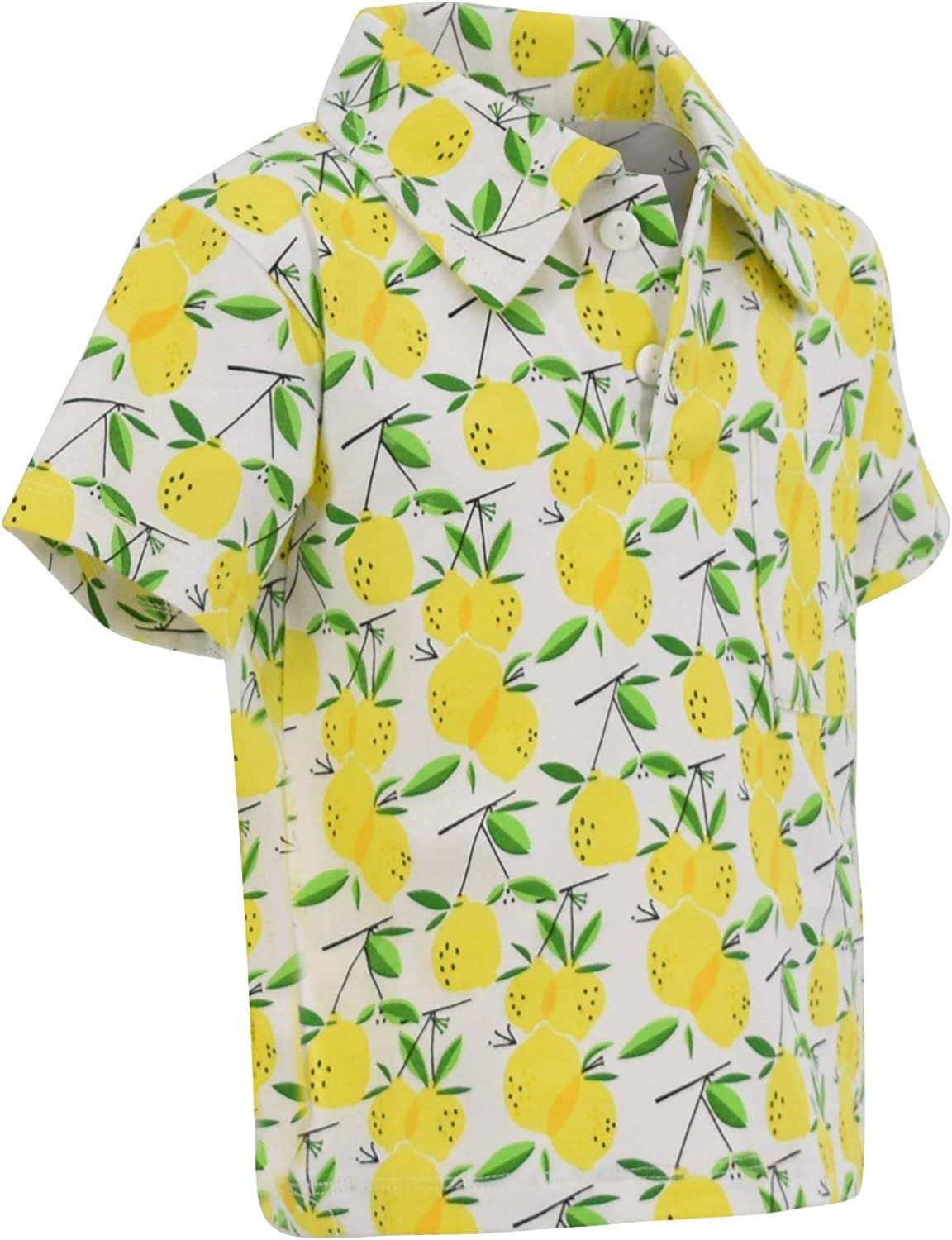 Domple Mens Short Sleeve Summer Beach Lemon Print Slim Button Up Dress Shirt