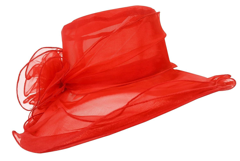 Lawliet Womens Kentucky Derby Sun Hat Wide Brim Wedding Church Racing A002 A002black