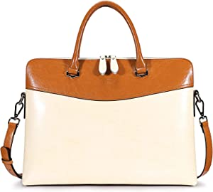 S-ZONE Women Leather Briefcase 15.6 Inch Laptop Slim Shoulder Bag Work Tote 2.0 Version