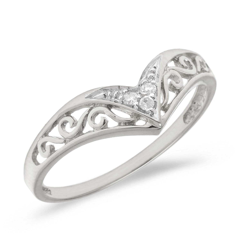 Amazon.com: 0.03 14k Gold Round Diamond Chevron Ring V Shaped Swirl ...