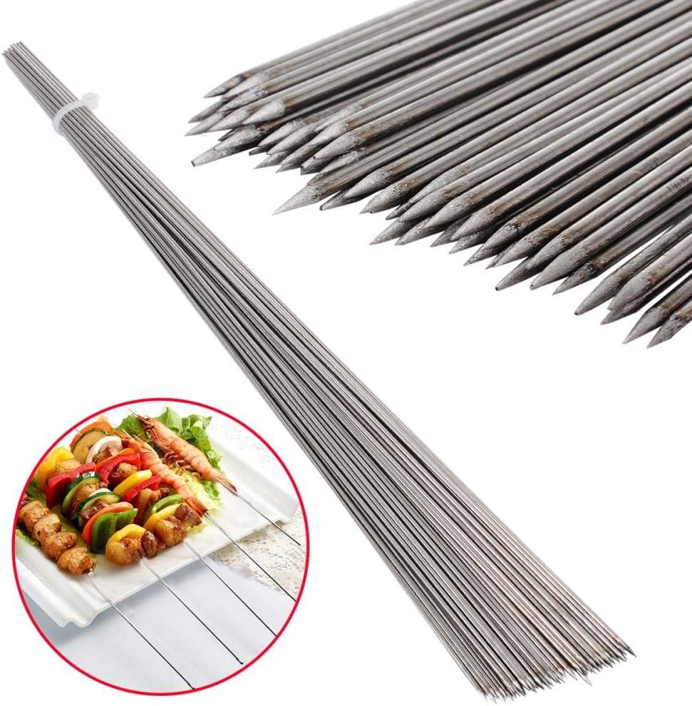 Z-NING 50 Piezas de Acero Inoxidable Barras de Barbacoa Brocheta de Carne de Barbacoa Cadena Kebab Kabob Aguja 35 cm para Cocina Camping Barbecue Tool, A