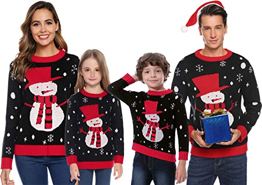 Abollria Christmas Sweater For Family Cute Snowman Knitted Sweater For Women Mens Pullover Tops At Amazon Women S Clothing Store