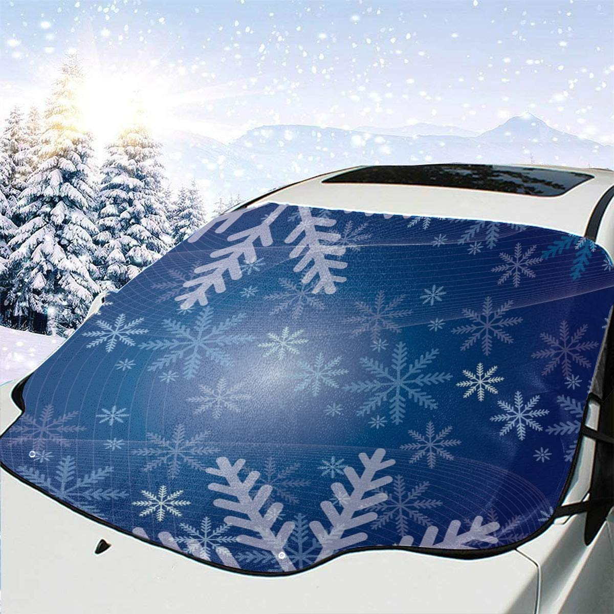 Huqalh Windshield Cover for Car Snowflakes Blue Snowy Holiday Winter Shade for Car Window 57.9x46.5 Inch(147cmx118cm) for Most Vehicles by Protect The Windshield and Wiper from Sun,ice,Snow,Frost