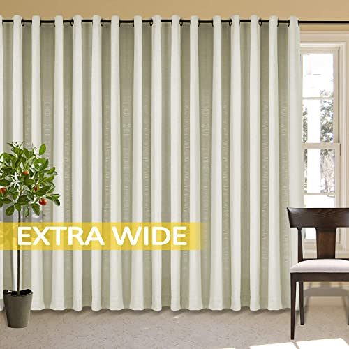 cololeaf Sliding Door Curtain Window Drapes Room Darkening Light Blocking Extra Long Panel Indoor Privacy Curtains Grommet for Living Room Bedroom Dining – Seed Pearl 100W x 120L Inch 1 Panel