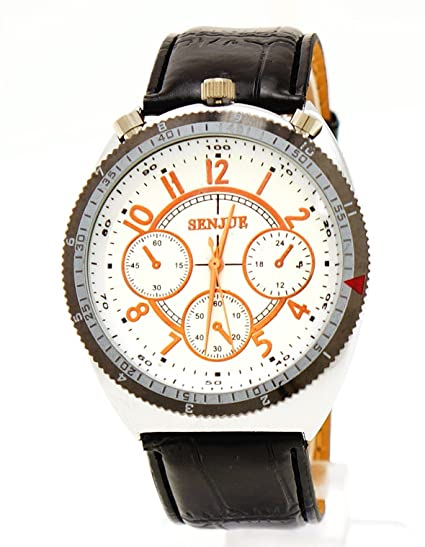 Reloj De Hombre Negro imitación de piel cobre Elementos: Amazon.es: Relojes