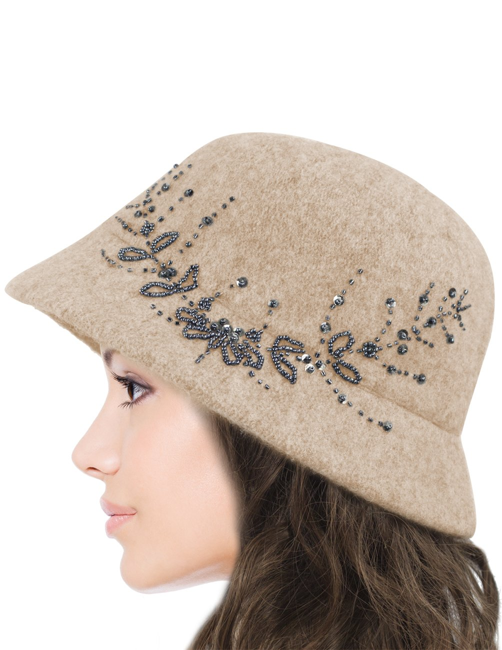 Dahlia Women's Wool Blend Hand Beaded Winter Bucket Hat/Cloche Hat - Tan by Dahlia (Image #4)