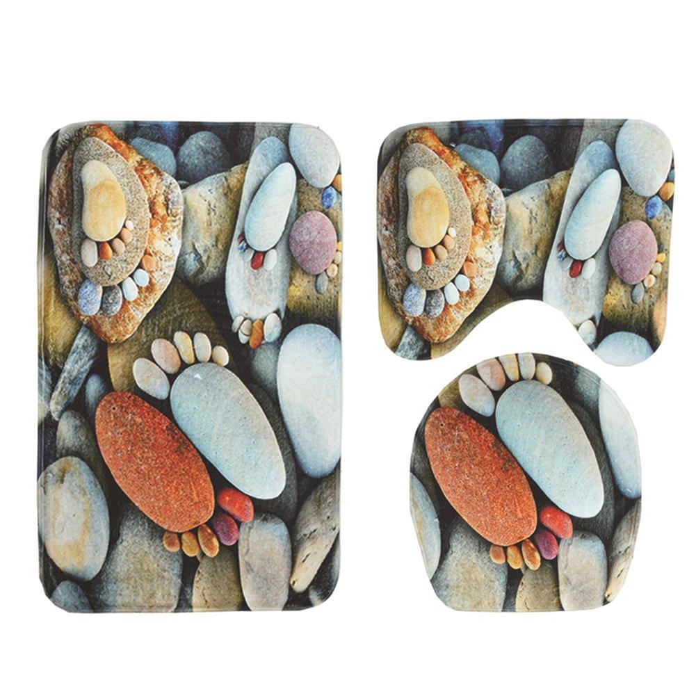 New 3 Piece Soft Flannel Bathroom Mat Set Non-Slip Bathroom Rug Contour Mat Absorbent Toilet Mat Lid Cover Set Pebble Feet