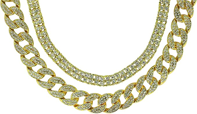 "Icy 2pc Set 20/"" 24/"" Cuban Link Chains 14k Gold Plated Hip Hop Necklaces"