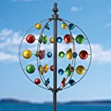 Bits and Pieces Multi-Colored Cyclone Circular Wind Spinner - Unique Outdoor Windspinner - Lawn and Garden Décor Lawn Ornament Wind Mill Garden Spinner